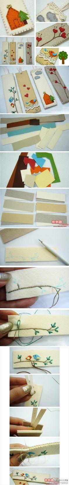 Artesanato em feltro – Marcadores de livro feitos com feltro!  Veja este passo a passo de artesanato em feltro de como fazer um lindo marcador de livro! Só precisa de pedaços de feltro de várias cores e linhas de bordar! Veja!                                                                                                                                                                                 Mais