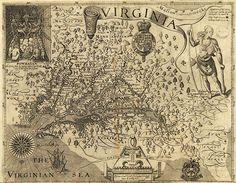 "Captain John Smith's 1612 VA map. Note: NASA has said ""It's amazingly accurate"". Pretty cool !!!"