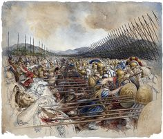 """This painting, """"Bataille de Bénévent""""   is by Christian Jegou. It is a picture of the warrior Spartans at battle"""