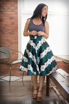Image of High-Waisted Flared Skirt - Leaf Pattern