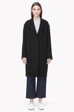 Hidden button linen blend coat