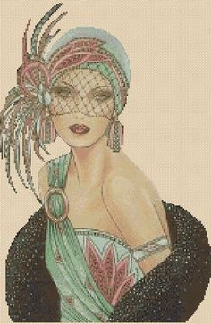 Up for a challenge? Cross stitch chart Art Deco Lady .