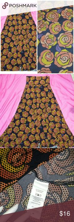 LuLaRoe Maxi Skirt M Lularoe M maxi skirt Flower Comics print flower Orange peach yellow black colors Excellent condition  Make a bundle with my other lularoe - Lynnae peach color size M can match perfect 😃 see last photo LuLaRoe Skirts Maxi