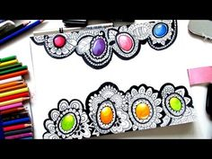 How to Draw Gems in Zentangle - YouTube