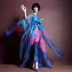 Model Hiroko Matsumoto wearing a purple dress with a large print of. 1960s Fashion, Vogue Fashion, Fashion Models, Vintage Fashion, Fashion Outfits, Trendy Fashion, Japanese Models, Japanese Fashion, Western Outfits