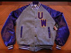 1980s UW Huskies Varsity Jacket, Chalkline, tags still on