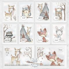 Watercolor art print with forest animals in 10 motifs - variants on firm 400 g & # . Room Photo, Photo Art, Bear Nursery, Nursery Art, Forest Nursery, Watercolor Pictures, Watercolor Art, Forest Animals, Woodland Animals
