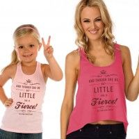 """Two Fierce Tanks: """"And though she be but little, she is fierce!"""" This Shakespeare quote from A Midsummer Night's Dream makes a fitting tank for so many ladies and little girls. http://www.covetdance.com/shop/fierce-little-lady-tank/ $24"""