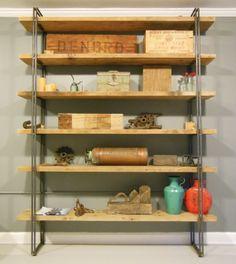 "Reclaimed Wood Shelf / Shelving Unit - Free Shipping - 60""L x 13""W x 90""H $1400"