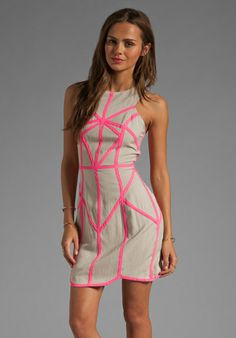 FINDERS KEEPERS Know You Know Body Dress in Biscuit/Iridescent Pink - Finders Keepers