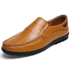 601070a6ac Men Vintage Breathable Flat Slip On Leather Business Casual Shoes Online -  NewChic Mobile. Sapatos