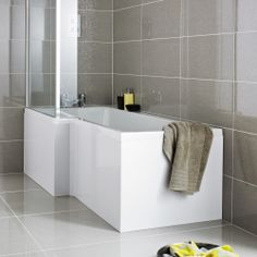 Venice Square 1700mm x 700/850mm L-Shaped Left Handed Acrylic Shower Bath