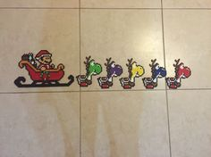 Mario Santa yoshi reindeer Christmas perler