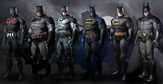 From left to right we have costumes from: Batman Beyond, The Dark Knight Returns, Batman: Earth One, 1970's Neal Adams batman, Batman The Animated Series, and finally the costume from Arkham City. Description from nerdsoftheroundtable.com. I searched for this on bing.com/images