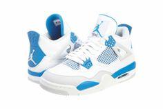 Mens Nike Air Jordan Retro 4 IV Basketball Shoes White / Military Blue / Neutral Grey 308497-105