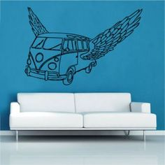 Angel Volkswagen Wall Sticker East Urban Home Colour: Brilliant Blue, Size: Extra Large Dinosaur Wall Stickers, Childrens Wall Stickers, 3d Butterfly Wall Stickers, Black Wall Stickers, Letter Wall Stickers, World Map Decal, World Map Wall, Girls Mirror, Vine Wall