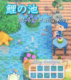 Animal Crossing Fish, Animal Crossing Wild World, Koi Pond Design, Path Design, Pond Animals, Ac New Leaf, Pokemon, Koi Fish Pond, Motifs Animal
