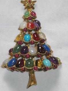 Jewelry Jeweled Tones Christmas Tree Brooch Pin Vintage Beauty Swoboda   eBay