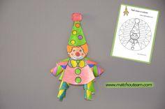 www.matchouteam.com Clown en papier, le coloriage pas comme les autres.