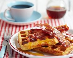 Bacon waffles recipe - is this the ultimate breakfast? dessert waffle recipe, bacon waffl, waffle recipes, breakfast, food, waffles, waffl recip, syrup waffl, maple syrup