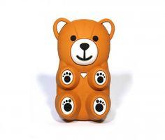 Iphone4 4s cover Bear Kleur bruin Materiaal rubber Maat 14 cm hoog, 8,5 cm hoog