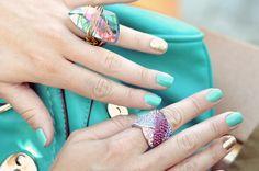 aqua & gold nails