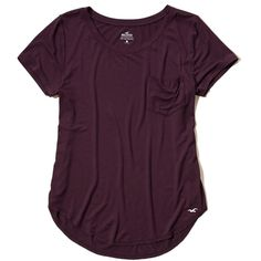 Hollister Must-Have Easy Pocket Tee (280 MXN) ❤ liked on Polyvore featuring tops, t-shirts, purple, relax t shirt, purple tee, scoop-neck tees, relaxed fit tee and relaxed fit t shirt