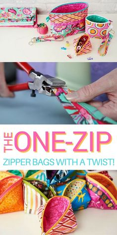 If you love to make quick and easy DIY projects as gifts, this Zippered Bags with a Twist One Way Zip Class is a must take! 3 pattern are included in the special discount price!