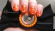 Glitter Flyers nails... B & W glitter would also work for Carolina, Tampa, Boston, New Jersey, and maybe Pittsburgh, Calgary or LA if you put it over the right base color Hockey Nails, Tough As Nails, Orange Nails, Some Ideas, Mani Pedi, Calgary, Flyers, Pittsburgh, Boston