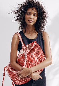 antonello™ medium capriccioli tote bag worn with the madewell eyelet crop top.