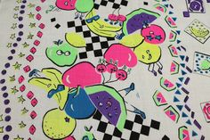 vintage 1980s NEON anthromorphic fruit printed fabric cotton cloth