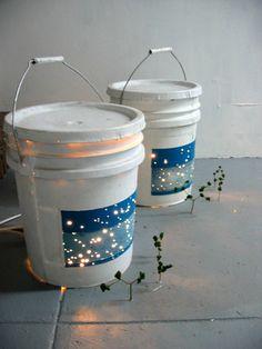 Starmaps, Karen Lofgren, 2004, leather, plastic, lights, sticks, sponge