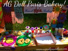 """18"""" AG Doll Mini Paris Bakery and American Girl doll  food and treats, French breads, drinks, mini menu and more!  You can make your own with recycled box, clay magic, craft foam and other supplies! Oooooo more ideas!!!"""