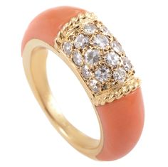Van Cleef and Arpels Coral Diamond Gold Band Ring Coral Bracelet, Coral Ring, Coral And Gold, Coral Jewelry, Gold Band Ring, Gold Bands, Band Rings, Stylish Jewelry, Fine Jewelry