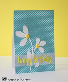 handmade birthday card ... polka dots and daisies  ... blue, yellow, white ... luv the cheerful spring colors ... by Hannele ...