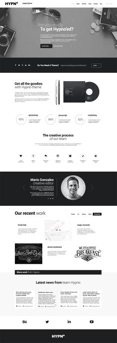 Hypno Modern Responsive WordPress Theme - Agency Website Design - Help you design professional website - Hypno Modern Responsive WordPress Theme Web Design Trends, Design Web, Layout Design, Design Blog, Web Layout, Page Design, Email Layout, News Design, Simple Wordpress Themes