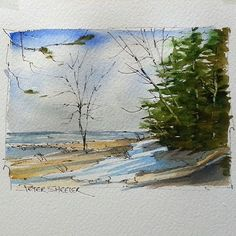 Latest video posted on YouTube. Lake Huron Shore. Link to my YouTube Channel is in my bio or Cut and Paste:  https://m.youtube.com/c/petersheelerart  #Video #youtube #youtubers #landscape #art #original #watercolor #winsorandnewton #watercolour #painting #paintingaday #penandink  #architecture #ink #moleskine_arts  #canada #ImagesofCanada #lake # Huron