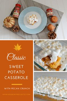 Classic Sweet Potato Casserole with Pecan Crunch - Housewife Eclectic (ad) Side Recipes, My Recipes, Holiday Recipes, Dessert Recipes, Cooking Recipes, Favorite Recipes, Mashed Sweet Potatoes, Sweet Potato Casserole, Creamy Mash