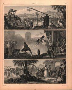 Penitent Hindu Fanatic Indian Gypsies Wedding Antique Print 1857