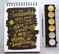 Brush Lettering with Finetec Gold Pearl Water Colors – kwernerdesign blog