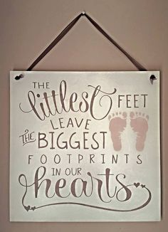 Nursery Decor Baby Wooden Sign Baby Shower Baby's Room New Mum Littlest Feet Footprints New Baby Handpainted Baby Boy Baby Girl by FioreCrafts on Etsy Gifts For Boys, Girl Gifts, Teen Bedroom Crafts, Baby Room Decor, Nursery Decor, Girl Nursery, Craft Room Lighting, Craft Room Signs, Girl Gift Baskets