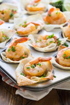 Light Tex Mex Shrimp Wonton Cups Recipe ~ Perfect Small Bite Appetizers! Crunchy Wonton Shells Stuffed with Pico de Gallo, Guacamole, and Seasoned Shrimp! Plus, it