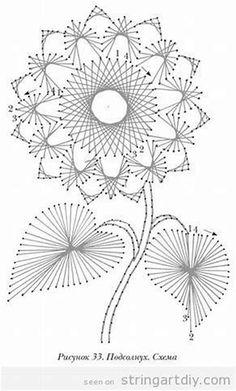 Vintage Flower String Art free pattern, kind of style - String Art DIY String Art Templates, String Art Tutorials, String Art Patterns, String Art Diy, String Crafts, Resin Crafts, Embroidery Cards, Embroidery Patterns, Beginner Embroidery