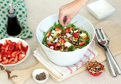 Peanut brittle, strawberry and goats' cheese in a salad? Does that really work? Yes indeed. This salad is guaranteed to wow your guests this summer – it certainly has all of us here at HQ addicted. Ingredients (for one big salad): 300g rocket and watercress, rinsed and spun 2 ripe avocados, de-pipped and scooped 2…