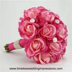 hot-pink-rose-bridal-bouquet-real-touch-silk-wedding-flowers-swarovski ..www.celebrationsbykat.com