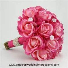 hot-pink-rose-bridal-bouquet-real-touch-silk-wedding-flowers-swarovski ..www.celebrationsbykat.com