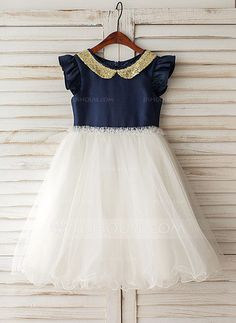 [AU$92.00] A-Line/Princess Knee-length Flower Girl Dress - Taffeta/Tulle Short Sleeves Peter Pan Collar With Sequins