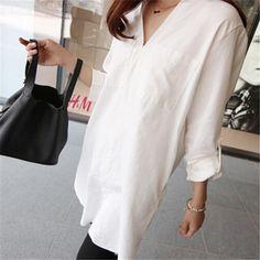 Sheinstreet Fashion Stylish Spring and Summer V Collar White Casual Casual Shirts White Blouses For Women, T Shirts For Women, Womens Closet, White Casual, Types Of Fashion Styles, Casual Shirts, Cold Shoulder Dress, Feminine, Street Style