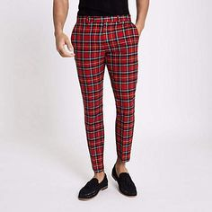 6c3777f5959 River Island Red plaid skinny cropped pants Cropped Trousers Men