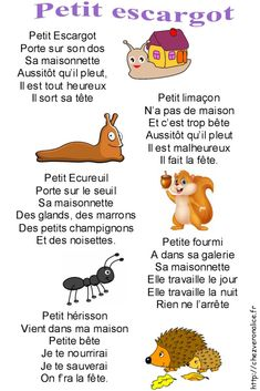 Little whole song snail – Chez Veronalice French Language Lessons, French Language Learning, French Lessons, French Teaching Resources, Teaching French, How To Speak French, Learn French, French Poems, French Education